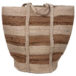 Striped Jute Bag - Natural / White