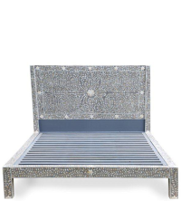 Shalimar Mother of Pearl Inlay Bed - Floral - Grey