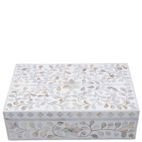 MOP Inlay Box - Floral - White