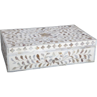 Mother of Pearl Inlay Box - White
