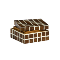 Geometric Coconut Inlay Box - Small - Brown