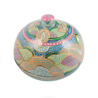 Papier Mache Powder Box - Small - Jade Multi