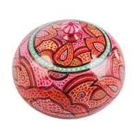 Papier Mache Powder Box - Large - Red Multi