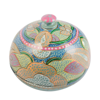 Papier Mache Powder Box - Large - Jade Multi