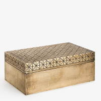 Carved 'Criss Cross' Box - Antique Brass Finish - Brass