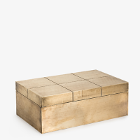 Carved 'Square' Box - Antique Brass Finish - Brass