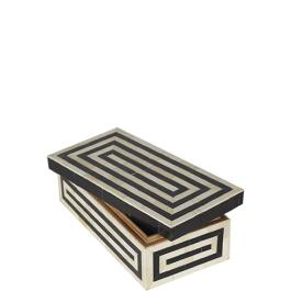 Bone / Horn Box - Medium - Black / White