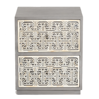Ionic Bone Inlay Bedside Chest - Grey