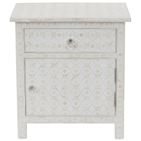 Bone Inlay 1-Drawer Side Cabinet - Geometric - White