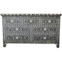 Bone Inlay 7-Drawer Chest - Floral - Black