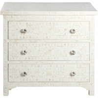 Bone Inlay 3-Drawer Chest - Floral - White