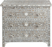 Shalimar Mother of Pearl Inlay 3-Drawer Chest - Floral - Grey