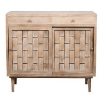 Woven Timber Sliding Door Cabinet -Natural