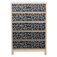 Oak Bone Inlay 5-Drawer Chest - Crossed Lines -Black / White