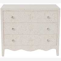 Bone Inlay 3-Drawer Chest w Curved Base