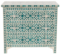 Bone Inlay 3-Drawer Chest - Star - Teal