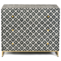 Fair Isle Bone Inlay Chest of Drawers - Charcoal
