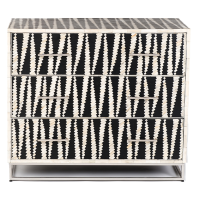 Malawi Bone Inlay Chest of Drawers - Black / White