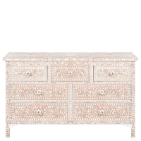 MOP Inlay 7-Drawer Chest - Floral - Pale Pink