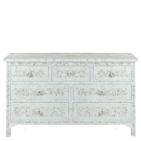MOP Inlay 7-Drawer Chest - Floral - Pale Blue