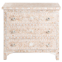 MOP Inlay 3-Drawer Chest - Floral - Pale Pink