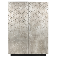 Vannes White Metal Veneer Cabinet - Antique White Metal