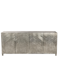 Vannes White Metal Veneer Sideboard - Antique White Metal