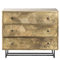 Liege Brass Veneer 3-Drawer Chest - Matt Brass