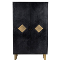 Mondrian Timber Parquet Cabinet - Black / Grey