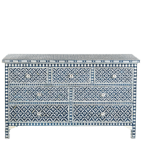Bone Inlay 7-Drawer Chest - Wallpaper - Indigo