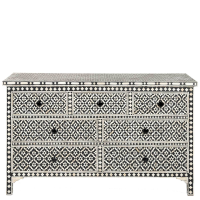 Bone Inlay 7-Drawer Chest - Wallpaper - Black