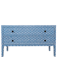 Bone Inlay Long 2-Drawer Chest - Ikat - Blue