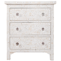 Bone Inlay 3-Drawer Side Cabinet - Floral - White