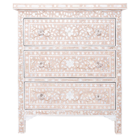 MOP Inlay 3-Drawer Side Cabinet - Floral - Blush