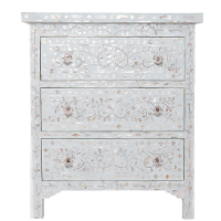 MOP Inlay 3-Drawer Side Cabinet - Floral - Sea Foam