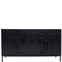 Tribal Carved 4-Door Sideboard - Black