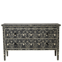 Bone Inlay 2-Drawer Chest - Moghul Flower - Black / White
