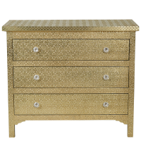 Embossed 3-Drawer Chest - Brass Finish - Brass
