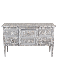 MOP 6-Drawer Console - Floral - Grey - Taupe