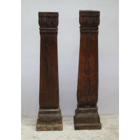Pillar Candlestand with Stone Base - Brown