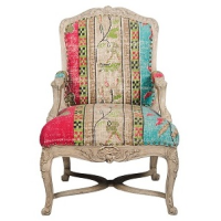 Carved Timber Chair - Printed Cotton Rug - Multicolour