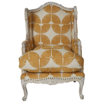 Chainstitch Upholstered Armchair - Natural / Gold
