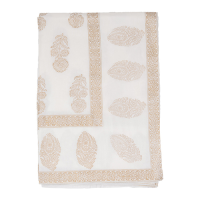 Block Printed Tablecloth - Bouti - White / Gold