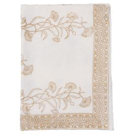 Block Printed Tablecloth - Floral - White / Gold