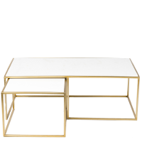 Marble / Stainless Steel 2-Part Coffee Table - White