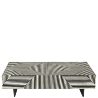 Bone Inlay Coffee Table - Bold Geometric - Black / White