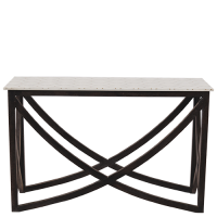 Marble & Brass Inlay Console - White