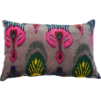 Ikat Velvet Cushion - Grey Multi