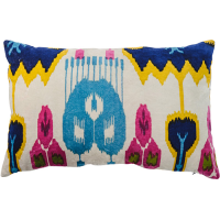 Ikat Velvet Cushion - White Multi
