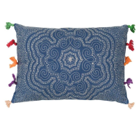 Tassled Cushion - Mandala - Blue